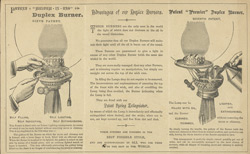 Advert for Wright & Butler's duplex burners, reverse side